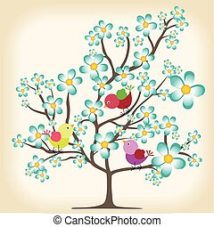 春, 背景, 木, 鳥