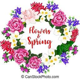 春, 花輪, ベクトル, 花束, 咲く, 花