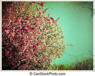 春, 花, レトロ, カード, スタイル