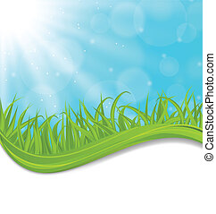春, 草, 自然, 緑, カード