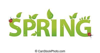 春, 葉, 緑, デザイン