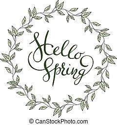 春, 葉, 花輪, こんにちは, 言葉