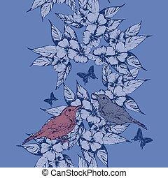 春, 蝶, seamless, 背景, hand-draw, 鳥