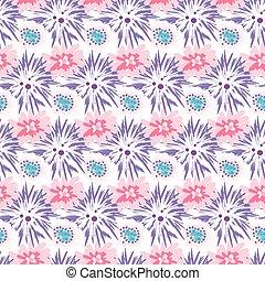 春, 野生, ビロード, そして, バラ, 花, フィールド, seamless, pattern.