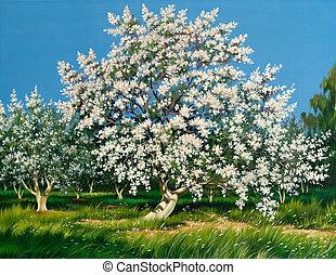 春, 開くこと, 庭