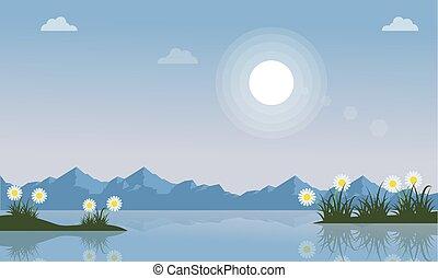 春, 風景, ベクトル, 湖, イラスト