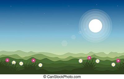 春, 風景, 美しさ, 丘