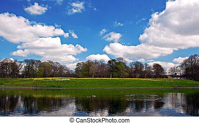 春, 2, 公園, 湖, 景色