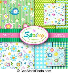 春, 8, ベクトル, seamless, patterns;