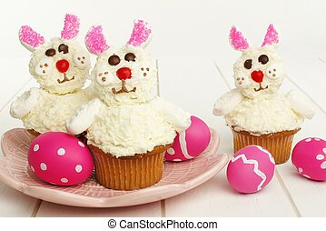 春, cupcakes, うさぎ