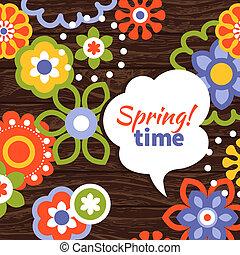 春, design., 漫画, 花, 背景