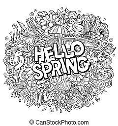 春, doodles, 手, こんにちは, illustration., design., 引かれる, 面白い, 季節的, 漫画