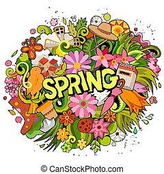 春, doodles, 手, design., illustration., 引かれる, 面白い, 季節的, 漫画