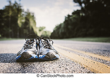 是, 使用, 僅僅, 鞋子, 孤獨, 跑, 等待, 對, 新, 開道路