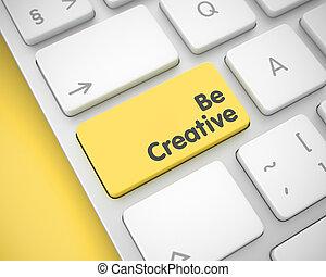 是, 創造性, -, 正文, 上, the, 黃色, 鍵盤, button., 3d.