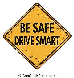是, 安全, 驅動, 聰明, 葡萄酒, 金屬, 簽署