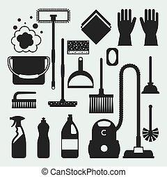 是, 形象, 打扫, 能, 旗帜, 站点, 图标, set., 持家, 网, 使用, 设计