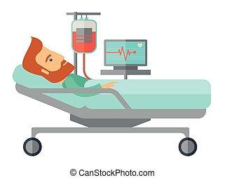 是, 病人, 醫院, 監控, 床