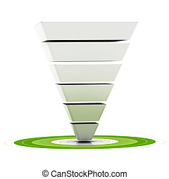 是, 目标, 使用, 指, 容易地, customizable, 销售, 结束, 六, 销售, 漏斗, 图形, 绿色,...