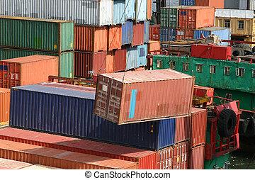 是, 裝, 容器, 港口, 發貨