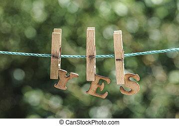是, 詞, 寫, 所作, 垂懸, 木制, 信件, 上, 繩子, 在, 花園