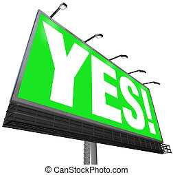 是, 詞, 廣告欄, 綠色, 簽署, 贊成, 接受, 回答