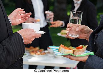 昼食, ビュッフェ, ビジネス 人々