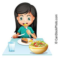 昼食, 女の子, 食べること, 彼女