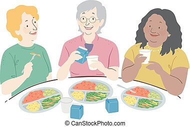 昼食, 年長の 女性, 食べなさい, イラスト