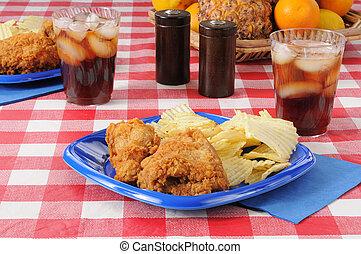 昼食, 揚げられている, ピクニック, chichen