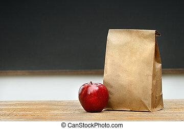 昼食, 紙袋, 机