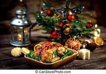 昼食, 鶏, クリスマス, 焼かれた