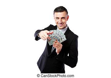 显示, 富有, 美元, 隔离, 我们, 背景, 握住, 商人, 白色, 你