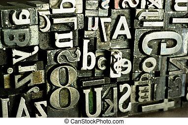 時代遅れ, 印刷, テキスト, 金属, typeset, 出版物, タイプ, 活版印刷