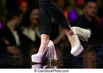 時裝展示會, 跑道, 美麗, 粉紅色, 鞋子