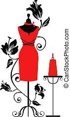 時裝模特, 為, 裁縫