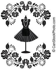 時裝, 卡片, 由于, 時裝模特, 由于, 項鏈, 以及, 裙子, 在, 植物, 框架