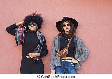 時裝, 女孩, 上, 街道