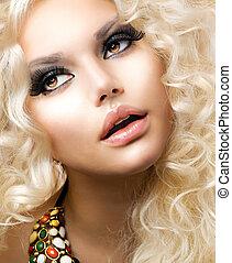 時裝, 女孩, 由于, 健康, 長, 卷曲, hair., 美麗, 白膚金髮, 婦女