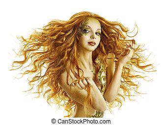 時裝, 女孩, 頭髮麤毛交織物風格, 婦女, 模型, 長, 招手, 發型, 白色