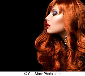 時裝, 波狀, hair., 肖像, 女孩, 紅色
