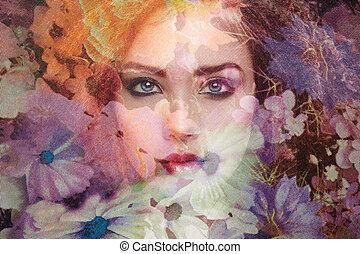 時裝, 相片, ......的, 美麗的婦女, 在下面, 面紗