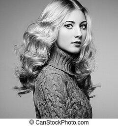 時裝, 相片, ......的, 美麗的婦女, 在, 毛線衫