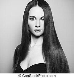 時裝, 相片, ......的, 美麗的婦女, 由于, 壯麗, 頭髮