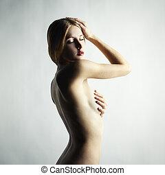 時裝, 相片, ......的, 美麗, 裸体的婦女
