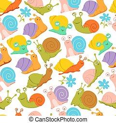 時裝, 織品, 蝸牛, 孩子, pattern., 包裹, seamless, 結構, 矢量, 無窮