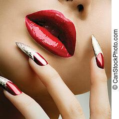 時裝, 美麗, 模型, girl., 修指甲, 以及, 構成