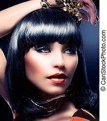 時裝, 美麗, 模型, portrait., 美麗, 黑發淺黑膚色女子, 女孩