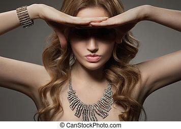 時裝, 肖像, ......的, 美麗, 豪華, 婦女, 由于, 珠寶