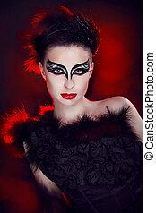 時裝, 藝術肖像, ......的, 美麗, girl., 時髦, 風格, woman., 人物面部影像逼真, 肖像, ......的, 模型, 矯柔造作, 在, studio.